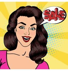 Happy Woman Shouts Sale Sale Banner Pop Art vector image