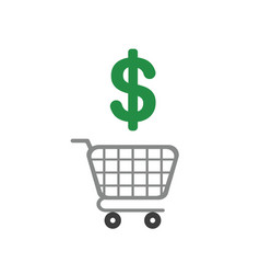 icon concept of shopping cart with dollar symbol vector image