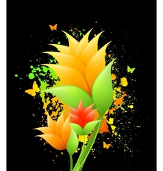 Ink with orange flowers vector image