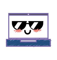 Kawaii cute funny laptop technology vector
