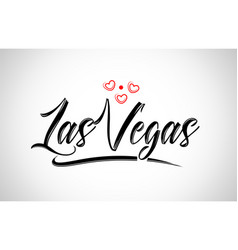 Las vegas city design typography with red heart vector