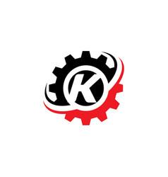 Letter k gear logo design template vector
