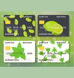 Lime and mint on frontal side of credit card vector
