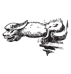 Lincoln gargoyle odd addition vintage engraving vector