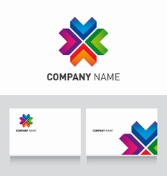 Logo colored and business card template vector