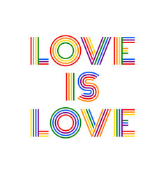 love is love colorful rainbow lettering vector image