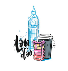 macaroon and coffee in london vector image