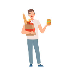 Man character with fast food vector