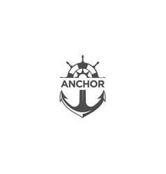 Marine retro emblems logo with anchor symbol vector