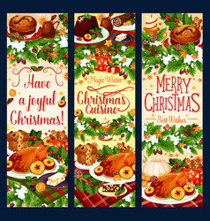 merry christmas dinner greeting banners vector image