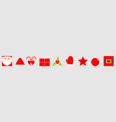 merry year icon set santa claus vector image