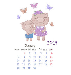 Monthly creative calendar 2019 with cute cartoon vector