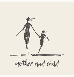 mother and child running silhouette sketch vector image