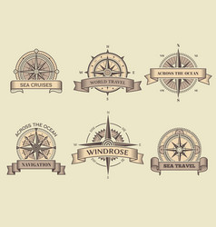 nautical labels wind rose sea compass vector image
