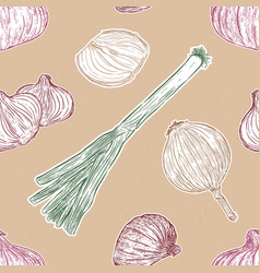 onion set green red and yellow onion hand draw vector image