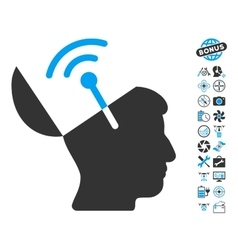 Open Mind Radio Interface Icon With Air Drone vector