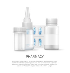 Pharmacy poster and bottles vector