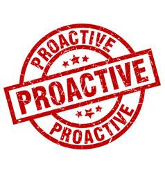 Proactive round red grunge stamp vector