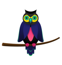 Psychedelic owl on a branch tree isolated on white vector