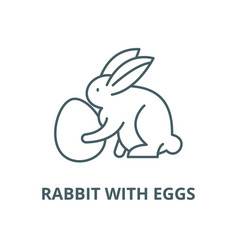 rabbit with eggs line icon linear concept vector image