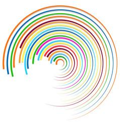 Random colorful circular concentric lines vector