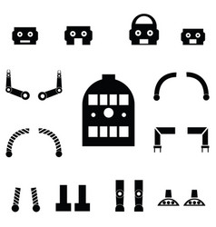 Robot parts icon set vector