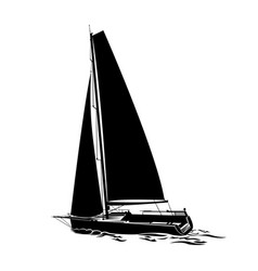 sailing yacht sails on waves silhouette vector image