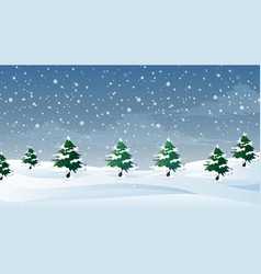Scene with snow falling on field vector
