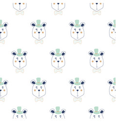 seamless pattern with cute gentleman bears vector image