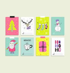 Set of hand drawn christmas card templates vector