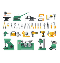 Set of master tools for metal big flat icon vector
