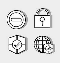 Set technology elements with security icons vector