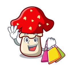 shopping amanita mushroom character cartoon vector image