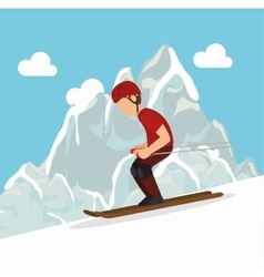 Skiing man mountain snow extreme sports vector