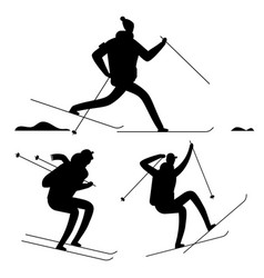 Skiing people black silhouettes isolated on white vector