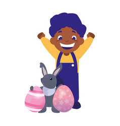 smiling boy and rabbit easter vector image