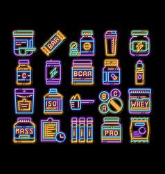 Sport nutrition cells neon glow icon vector