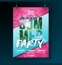 Summer party flyer design with flower and vector