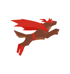 Superhero dog character jumping super dog dressed vector