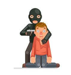 terrorist hostage criminal thief gun character vector image