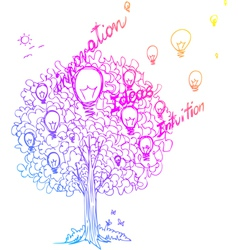 The tree of ideas decorated with light bulbs vector