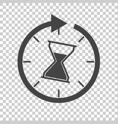 time icon flat with hourglass on isolated vector image