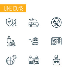 Travel icons line style set with airport shuttle vector
