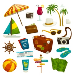 Travel object set isolated on white cartoon vector