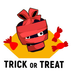 Trick or treat candy logo cartoon style vector