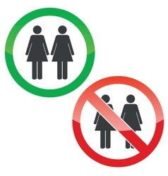 Two women permission signs set vector
