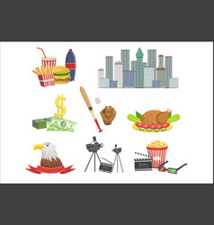 usa national symbols set american attractions vector image