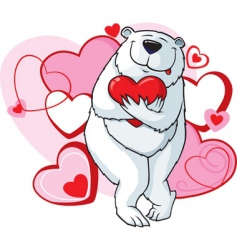 valentine bear with heart vector image vector image