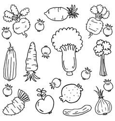 Vegetable doodles vector
