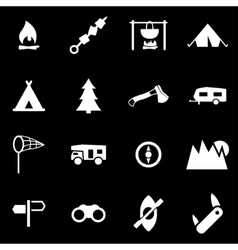 white camping icon set vector image